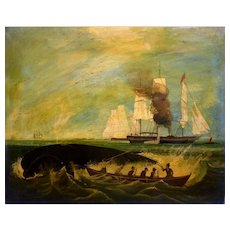 "19th Century Whaling Ship, Rowboat with Sailors, 18 x 22"" (sight), Oil Painting"