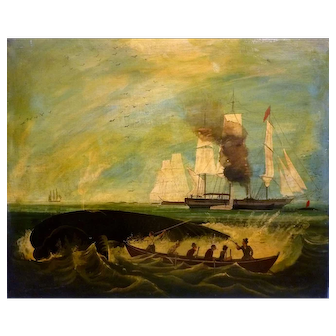 "Whaling Ship, Rowboat with Sailors, 18 x 22"" (sight), Oil Painting"