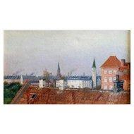"Rooftops, Copenhagen, ca. 1910, 10 3/4 x 17 1/2"", (sight), Oil on canvas"