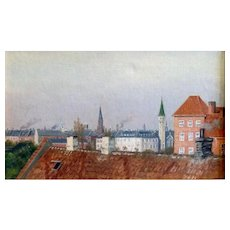 "Rooftops, Copenhagen, ca. 1910, 10 3/4 x 17 1/2"", (sight), Oil on canvas"