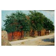 """Village Lane, Oil on Canvas, 19 x 25"""" (sight)"""