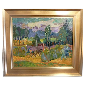Harvest, 1949, Oil on Artist Board, 15 x 18 (sight)