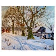 "Blue Skies, White Snow, Oil on Canvas, 23 x27"" (sight)"