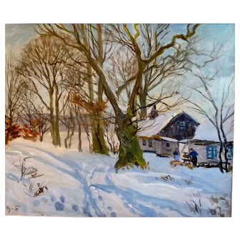"Blue Skies, White Snow, Oil on Canvas, 23 x27"" (sight)"