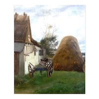 "Haystack and Wagon, Oil on Canvas, 21 x 16"" (sight) Famous Artist"