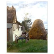 """Haystack and Wagon, Oil on Canvas, 21 x 16"""" (sight) Famous Artist"""