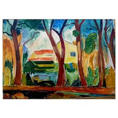 "French Path, a'la Cezanne, 1957, 18 x 26"" (sight) Oil on Canvas"