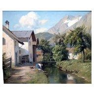 "Village Stream, ca 1960, Oil on Canvas, 15.75 x 19.75"" (sight)"