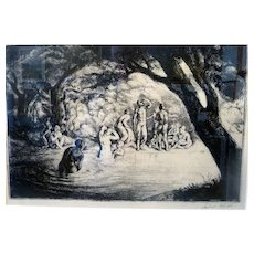 """The Bathers, 1922, engraving, 10 x 14"""" sight (15.5 x 19.5"""")"""