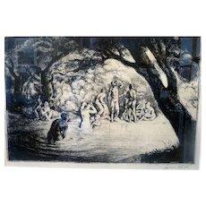 "Mythic Communion, 1922, engraving, 10 x 14"" sight (15.5 x 19.5"")"