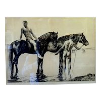 "Bathing the Horses, ca 1900, Etching 16 x 21"" (sight) 21 x 26"" (framed)"