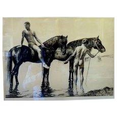 "Bathing the Horses, ca 1900, Etching 16 x 21"" (sight) 21 x 26"" (framed)"