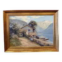 "Lake Brienz, Switzerland, ca 1960, 19.75 x 27.75"" (sight), 23.25 x 31.25"" (framed)"