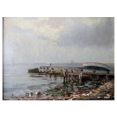 The Old Pier, ca 1935, Oil on Canvas, 19 x 22""