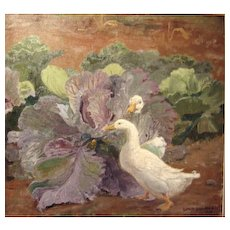 """Ducks in Cabbage Patch,"" Oil on Canvas, 31 x 33 inches (sight)"