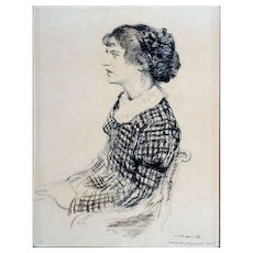"""Curl and Plaid, 1934, Charcoal on Paper, 26 x 20 """" (image)"""