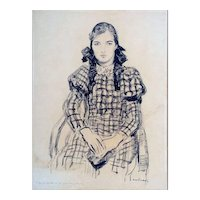 """Pigtails and Plaid, 1933, Charcoal on Paper, 25 x 18"""" (image)"""
