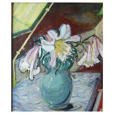 """""""Lilies,"""" ca 1935 24 x 20""""  (sight), oil on canvas."""