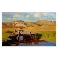 "The Bridge, 1942, Oil on Canvas, 22 x 37,"" (sight)"