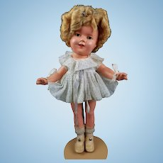 """Vintage Ideal Shirley Temple Doll Composition ALL ORIGINAL 13"""" Tagged Dress CLEAR Eyes 1930s Nice"""