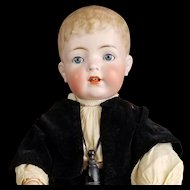 Antique German Boy Doll Kammer Reinhardt 127 Molded Hair Solid Dome Toddler Body