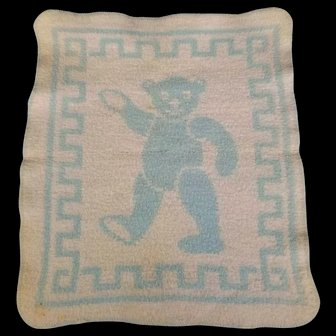 Vintage Dy Dee Effanbee Teddy Bear Blue and White Reversible Blanket by Esmond