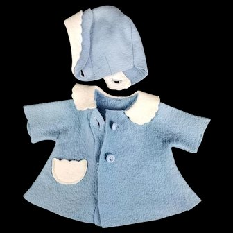 Vintage American Character Tiny Tears Original Felt Blue Coat and Matching Bonnet Hat TLC