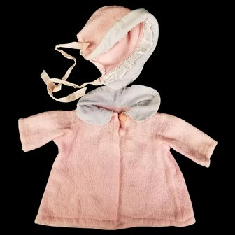 Vintage Dy Dee Doll Esmond Coat/Jacket Matching Bonnet Pink Blue