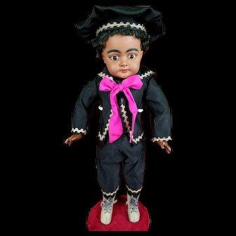 Antique German Boy Doll Simon Halbig 739 Mulatto Black Org Wig Straight Wrist!
