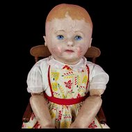 "Antique Martha Chase Stockinette Doll Pre 1910 Large 23.5"" Bright Blue Eyes CUTE!"