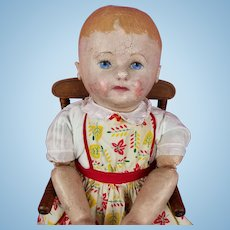"""Antique Martha Chase Stockinette Doll Pre 1910 Large 23.5"""" Bright Blue Eyes CUTE!"""