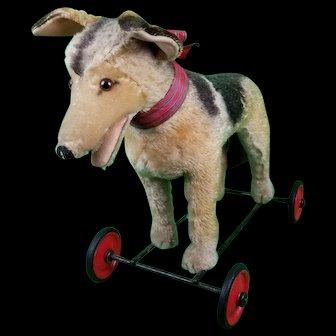 Vintage Steiff German Shephard Mohair LG Ride On Pull Toy On Wheels Button NICE!