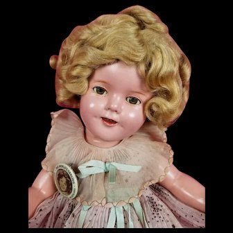 """Vintage 1930s Ideal Shirley Temple Composition Doll Starburst 15"""" CLEAR EYES"""