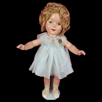 """Vintage Ideal 1930's Shirley Temple 20"""" Composition Doll NRA Tag Dress Lovely!"""