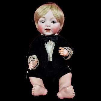 """Antique German Bisque Head Baby Boy Doll JDK Kestner 226 Z ORG Kestner Body 17"""""""