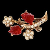 Darling Art Deco Style FRUIT SALAD Molded Glass Rhinestone Floral Brooch Pin