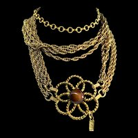 Vintage Rare 1970s Couture YVES SAINT LAURENT YSL Glass Flower Chain Belt Necklace