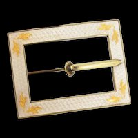 Antique Victorian Guilloche Enamel Gilt Sterling Buckle Sash Brooch Pin