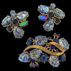 Vintage SCHIAPARELLI Art Glass Cabochon Rhinestone Brooch Pin Earrings Set
