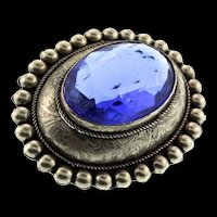 Vintage Sterling Silver Faceted Sapphire Glass Etched Beaded Border Brooch Pin