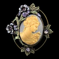Vintage Stunning Victorian Revival SWEET ROMANCE Rhinestone Enamel Cameo Brooch Pin