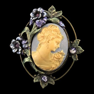 Vintage Stunning Victorian Revival SWEET ROMANCE Rhinestone Enamel Cameo Brooch Pin