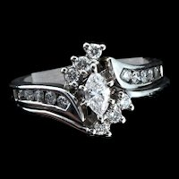 Vintage 14K Solid White Gold Marquis Diamond WEDDING Ring Set Engagement Size 4.5