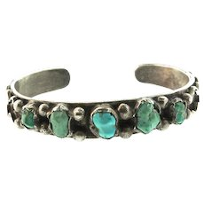 Vintage Signed Native American ZUNI Turquoise Sterling Silver Bracelet Cuff SMALL