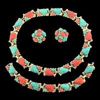 Vintage Philippe TRIFARI Fruit Salad Rhinestone Necklace Bracelet Earrings Parure Set