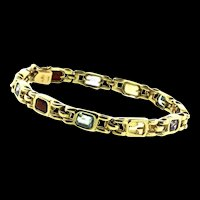 Estate 14K Yellow Gold Semi Precious Stone Chunky Link BRACELET 15g