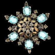 Vintage Philippe TRIFARI Sterling Aqua Crystal Rhinestone Glass SNOWFLAKE Pin Brooch