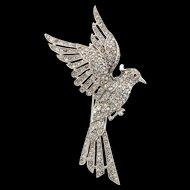 Vintage Philippe TRIFARI Art Deco Pave Rhinestone Bird Parakeet Figural Fur Pin Clip