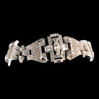 Vintage Philippe TRIFARI Art Deco Pave Rhinestone Scroll Rhodium Plated BRACELET