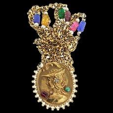 "Vintage Nordic VALKYRIE Goddess Warrior Pendant Glass Rhinestone Pendant 60"" NECKLACE"